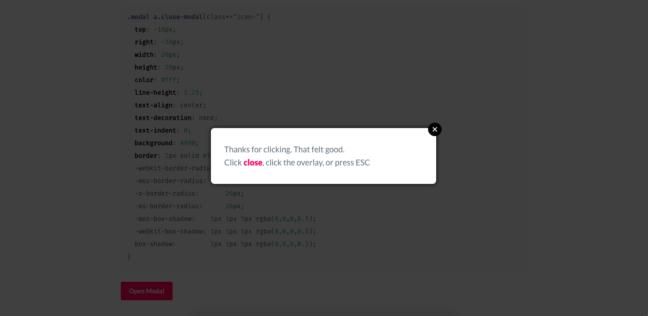 jQuery Modal Screenshot