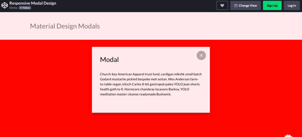 Responsive Material Design Modals Screenshot