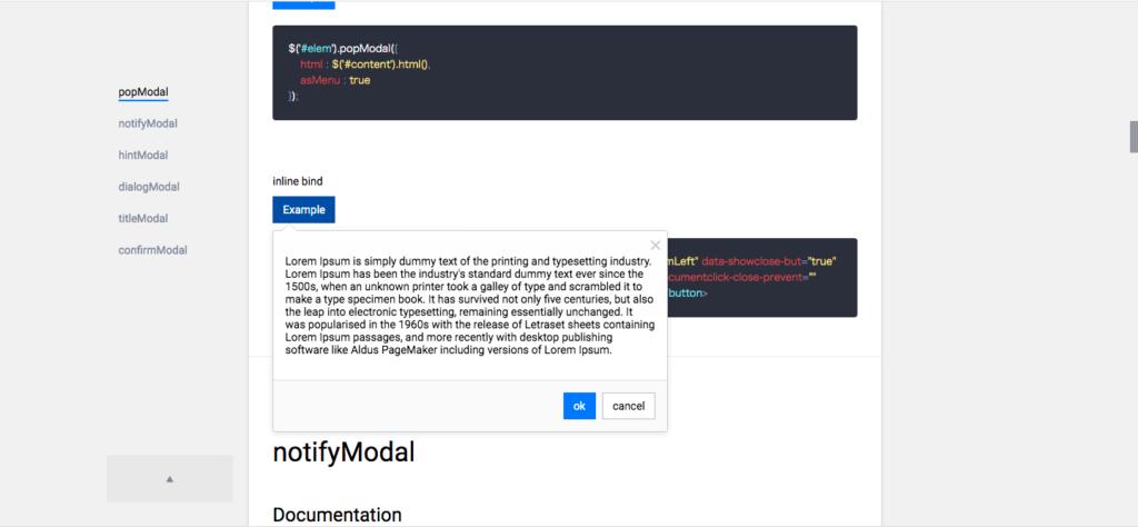 popModal screenshot